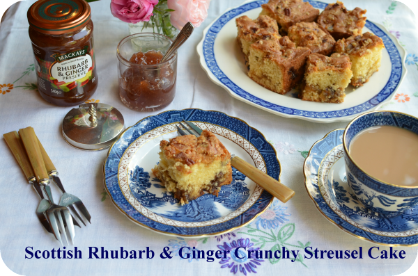 Rhubarb and Ginger Streusel Cake