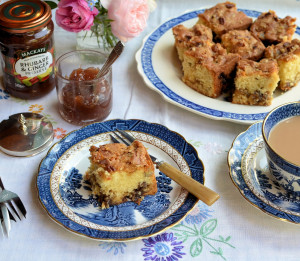 Scottish Rhubarb & Ginger Crunchy Streusel Cake
