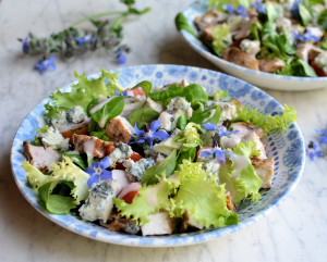 Blue Blossom Salad: Blue Cheese, Borage & Grilled Chicken Salad
