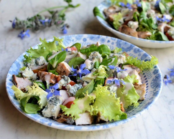Blue Blossom Salad: Blue Cheese, Borage & Grilled Chicken Salad