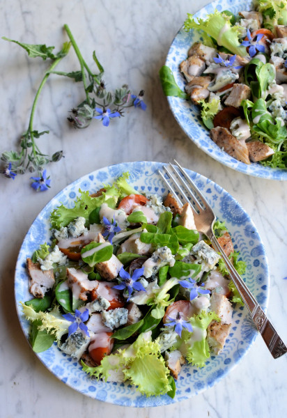 Blue on Blue! Blue Blossom Salad: Blue Cheese, Borage & Grilled Chicken Salad Recipe