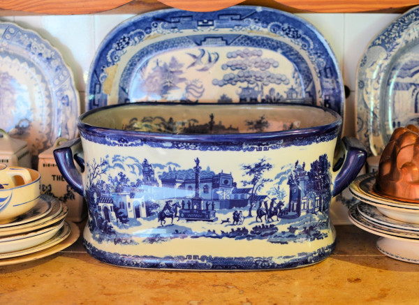 Blue and White Planter aka BIG Punch Bowl!  With Meat Platters