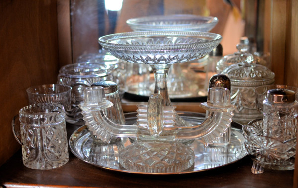 Pressed Glass, Sugar Bowls, Cream Jugs, Sugar Sifters, Cake Stands and a Candle Holder