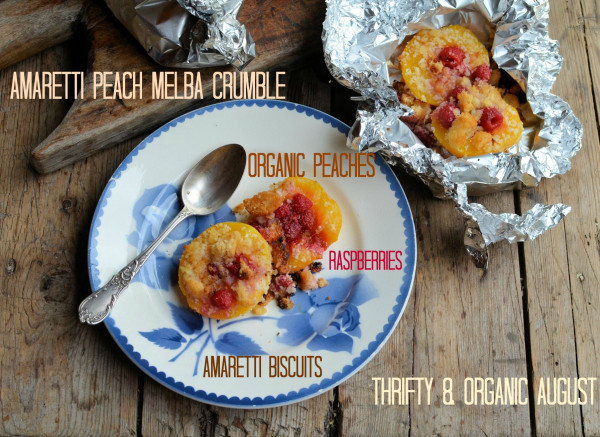 Amaretti Peach Melba Crumble