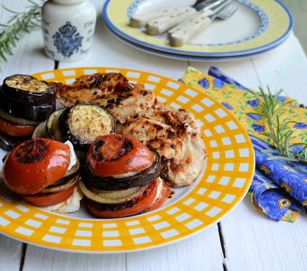 Chilli Peppered Chicken Steaks & Mediterranean Goat's Cheese Vegetable Stacks