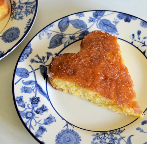 Easy Peasy Lemon Drizzle Cake Heart Shaped Slice