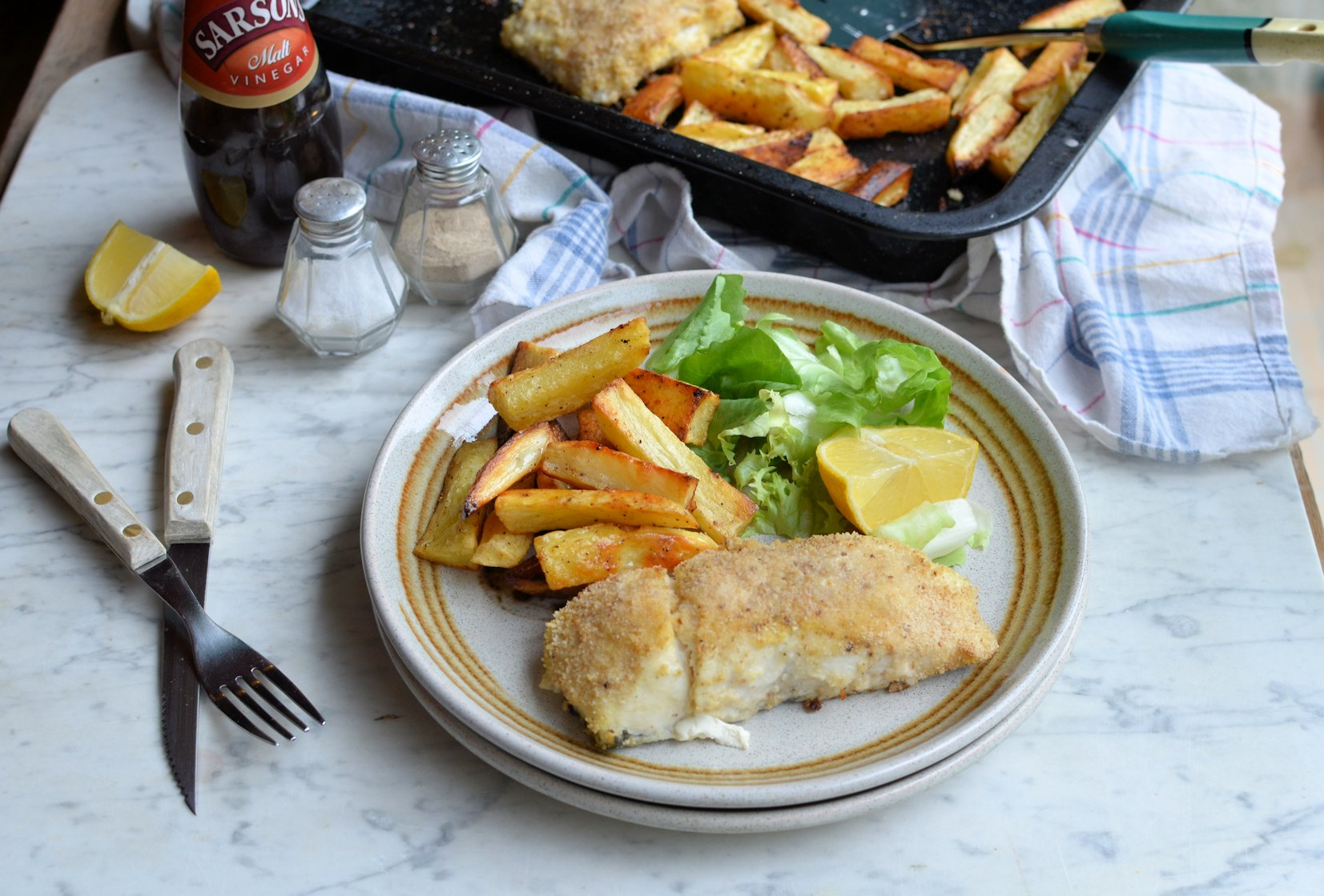 Healthy fish and chips for fish on friday baked hake for Healthy fish recipes