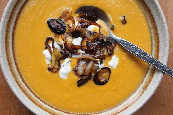 Spiced Red Lentil and Carrot Soup with Frazzled Onions