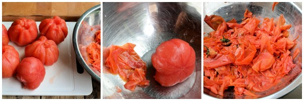 Skinning and peeling the tomatoes