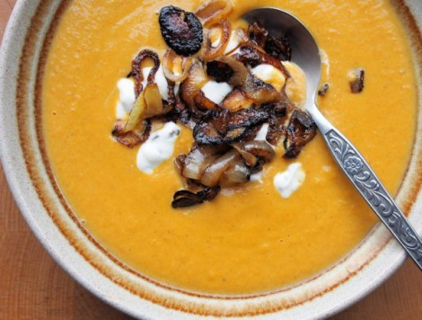 Potage, Stew, Broth or Gruel - or Soup by any other name! Spiced Red Lentil Soup with Frazzled Onions