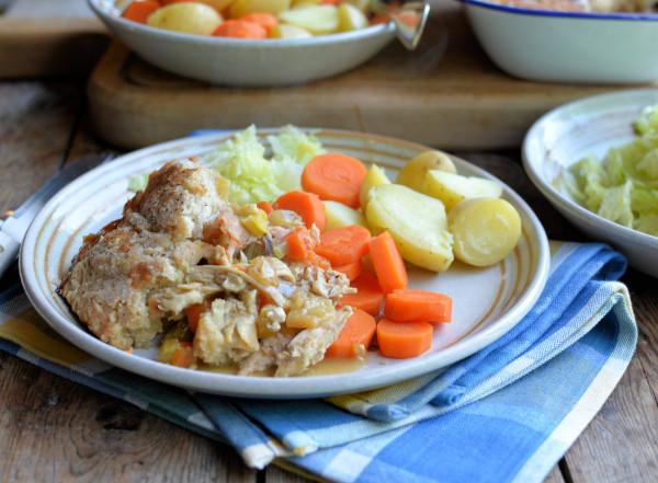 Frugal Family Fare: Roast Chicken & Ham Pie with a Suet Dumpling Crust