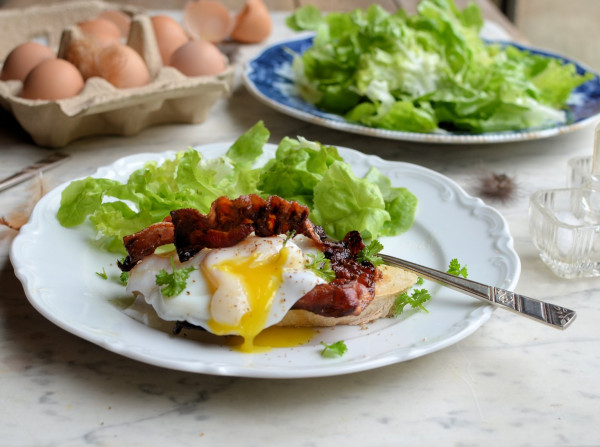 Sous Vide Poached Eggs and Bacon  on Sourdough Toast