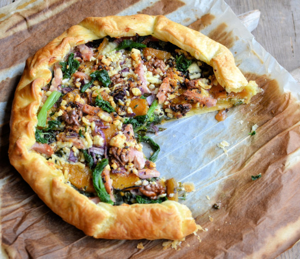 Pumpkin, Kale and Walnut Galette with Pancetta and Onion Jam