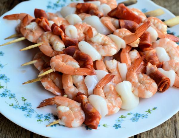 Spanish Seafood & Chorizo Skewers