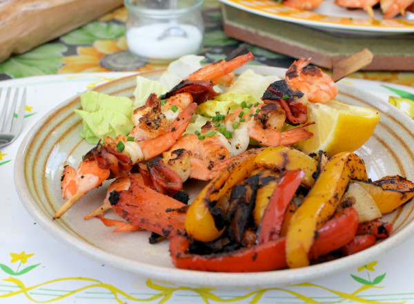 Spanish peppers and seafod skewers