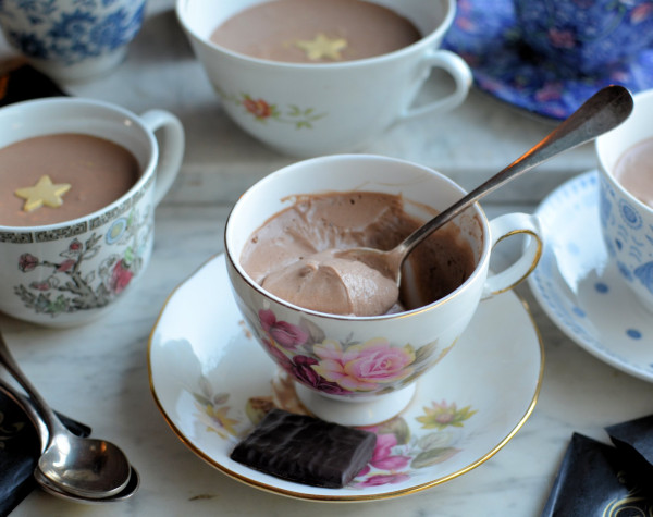 After Eight Mints Mousse & Vintage Tea Cups and Saucers