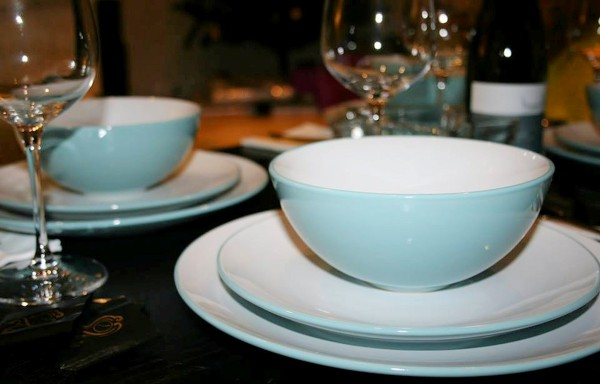 Debenhams Blue twelve piece 'Two Tone' dinner set