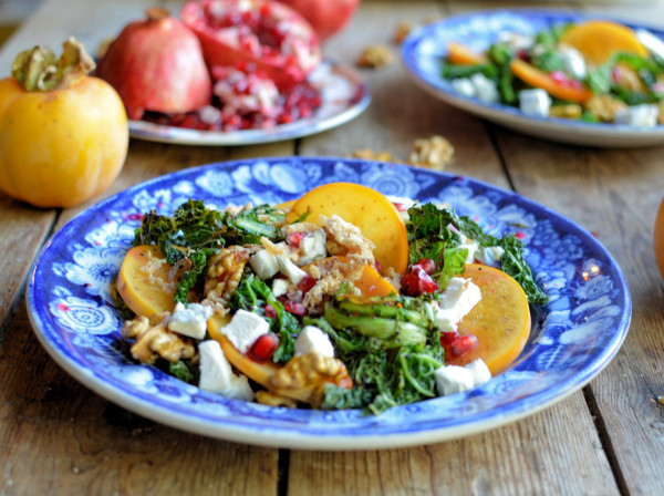 Frazzled Kale and Frisee salad with Pomegranate, Persimmon and Walnuts