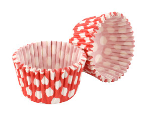 red and white spotty cupcake cases
