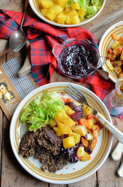 Haggis Burns Night Supper with Tartan Veggies