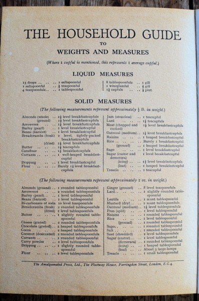 "Vintage ""Around the Clock"" Cookbook and Heirloom Weights & Measures Conversion Chart"