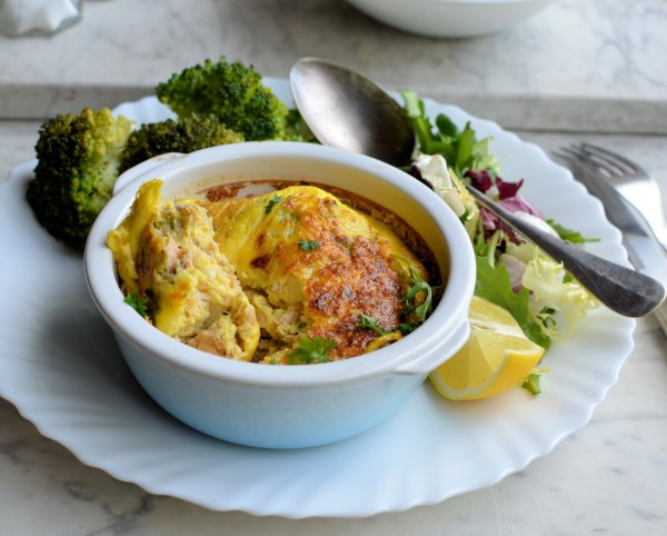 Easy Light Lunch for a 5:2 Diet Day: Salmon and Spring Onion Gratins (250 Calories) Recipe