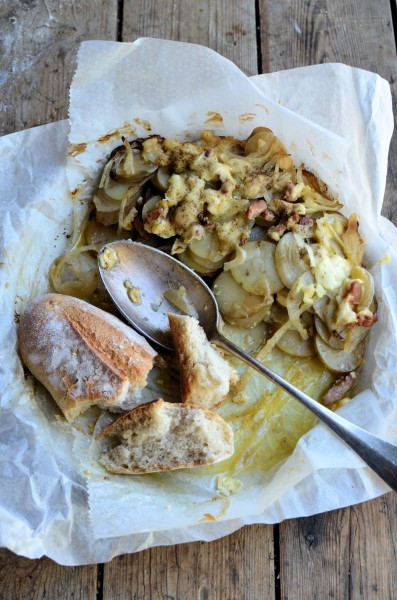 BBQ style Irish Slow Cooked Cheese and Bacon Potatoes in Paper