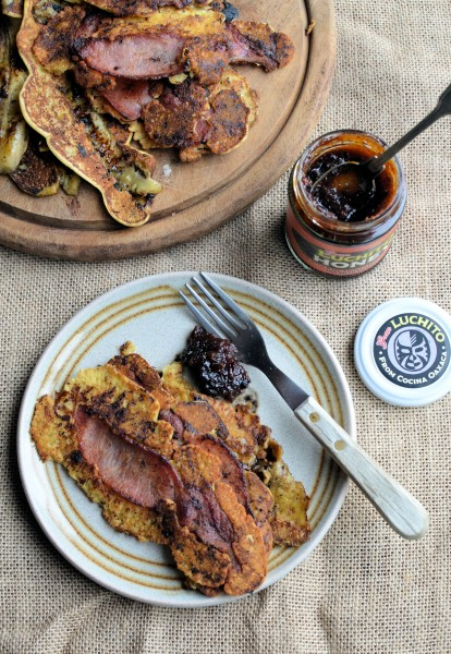 Bacon and Banana Pancake Strips with Smoked Chilli Honey