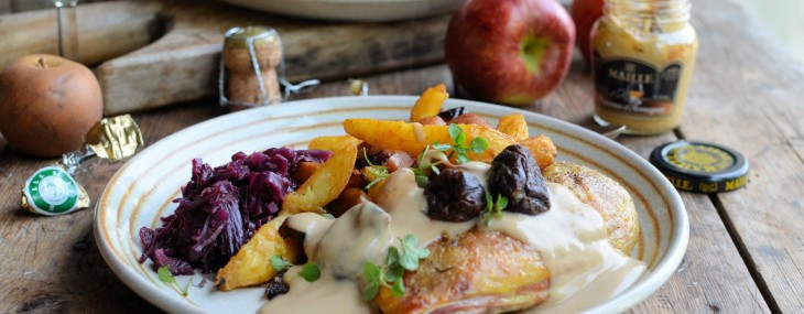 French Sunday Lunch: Guinea Fowl with Apples, Prunes and Armagnac Mustard Sauce (Pintade aux Prunes)