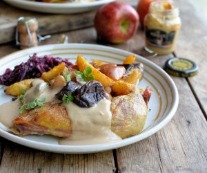 Guinea Fowl with Apples, Prunes and Armagnac Mustard Sauce (Pintade aux Prunes)