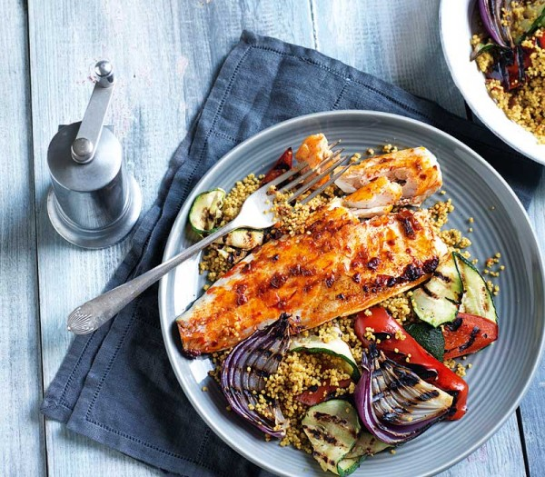 Harissa sea bass with griddled vegetables & couscous