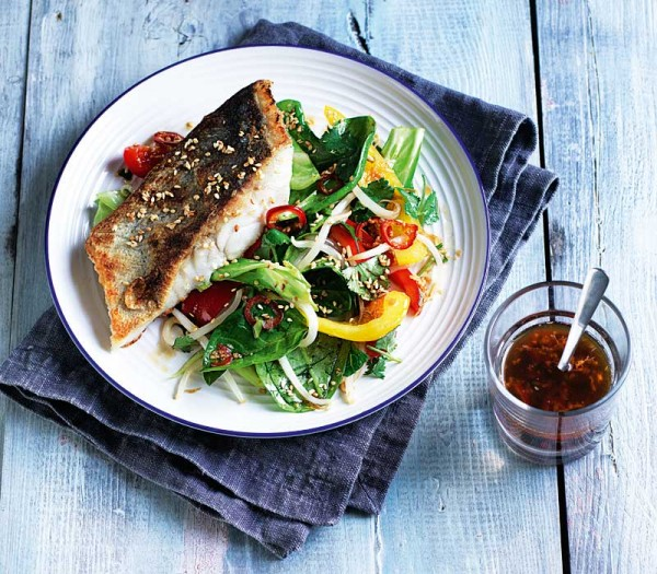 Crisp-skinned coley fillets & sesame stir-fry salad