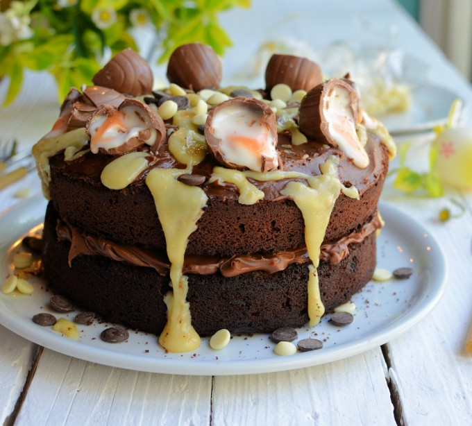A Big Easter Cake Creme Egg Chocolate Drizzle Cake
