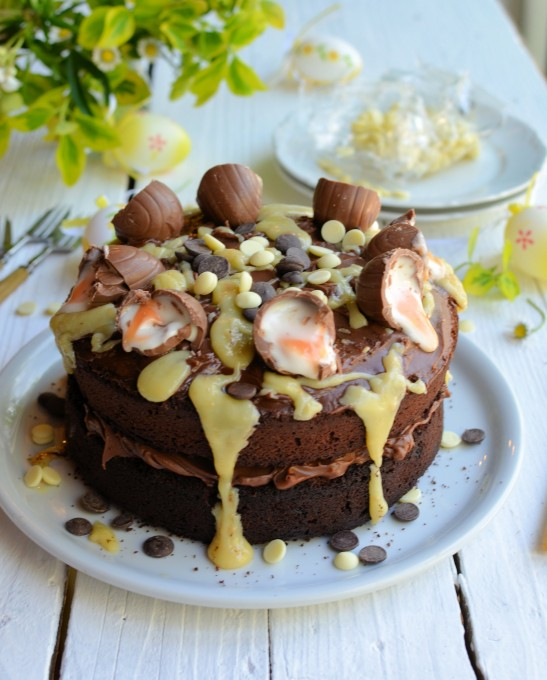A BIG Easter Cake! Creme Egg Chocolate Drizzle Cake
