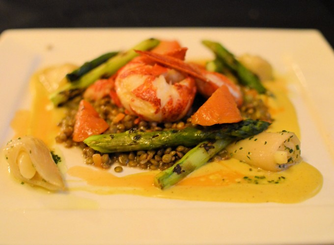 Newfoundland Lobster on Puy Lentils with Griddled Asparagus