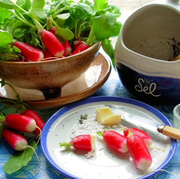 """Simply French! Radishes With Butter and Fleur De Sel  Read more: <a href=""""http://www.food.com/recipe/simply-french-radishes-with-butter-and-fleur-de-sel-414917?oc=linkback"""">http://www.food.com/recipe/simply-french-radishes-with-butter-and-fleur-de-sel-414917?oc=linkback</a>"""