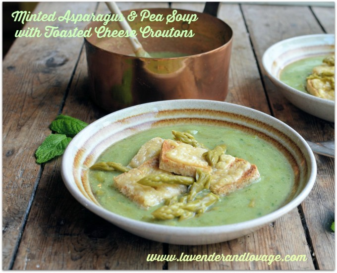 Minted Asparagus and Pea Soup with Melted Cheese Croutons