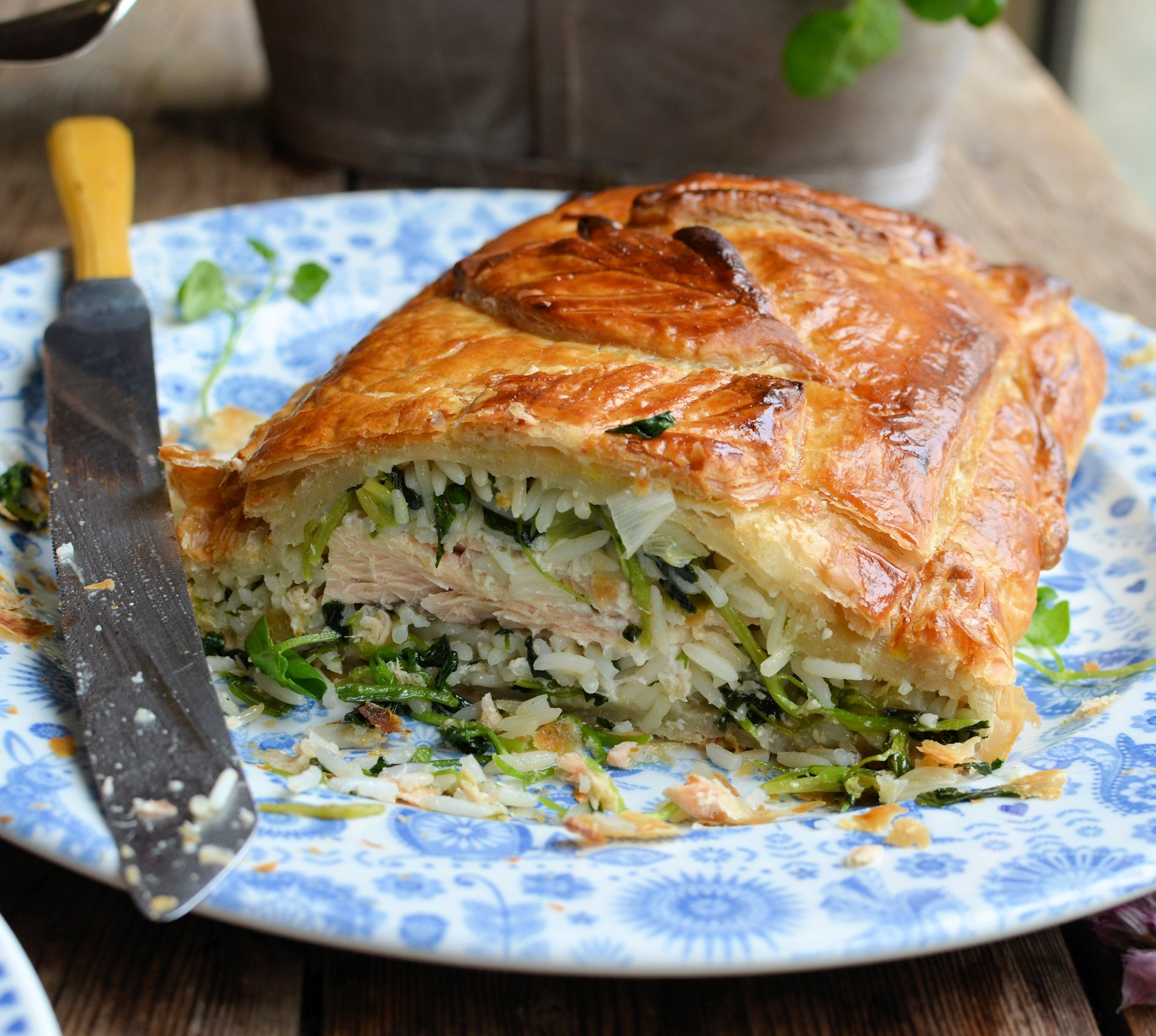 Salmon en Croute with Watercress & Spring Onions ...