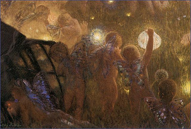 """""""Midsummer Eve"""" (detail) ca. 1908 Edward Robert Hughes"""