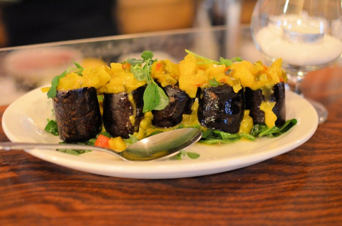 Halliday's Blood Pudding with Mark's Mudder's Pickles and Greens