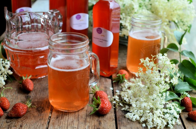 Elderflower and Strawberry Cordial