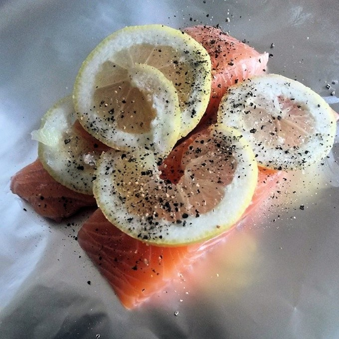 Foil Poached Alaska Wild Salmon for a Birthday Buffet!