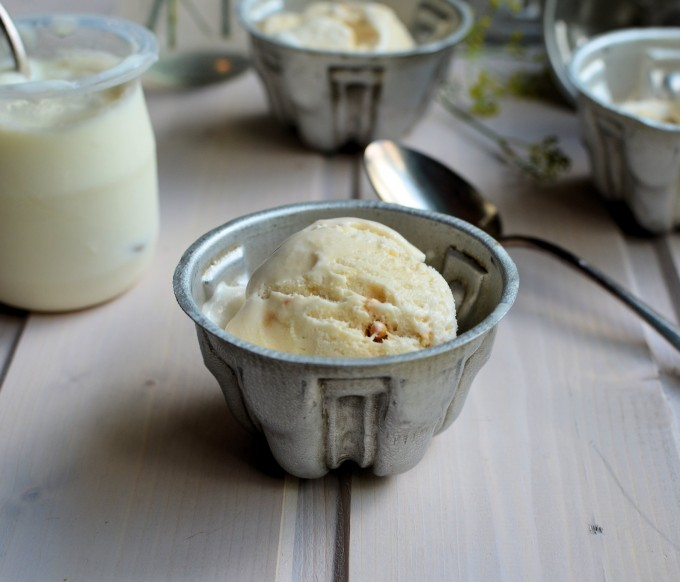 """No Churn"" Crème Fraiche Sorbet with Candied Almonds: The Secret Recipe Club"