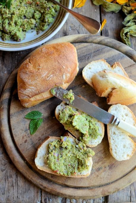 Pea & Mint Pesto on Bread