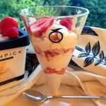 White Chocolate Ice Cream Sundae with Summer Fruits & Fudge Sauce