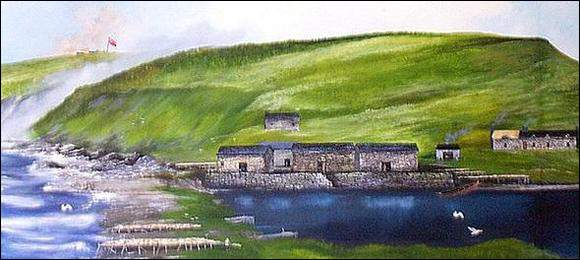 "Ferryland. The extensive artificial cobble ""beaches"" at Ferryland were constructed for drying fish. This painting is a detail from Stewart Montgomerie's larger panoramic mural."