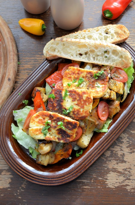 Roasted Graffiti Aubergines & Sweet Peppers in Chilli Oil with with Halloumi & Sourdough Toasts