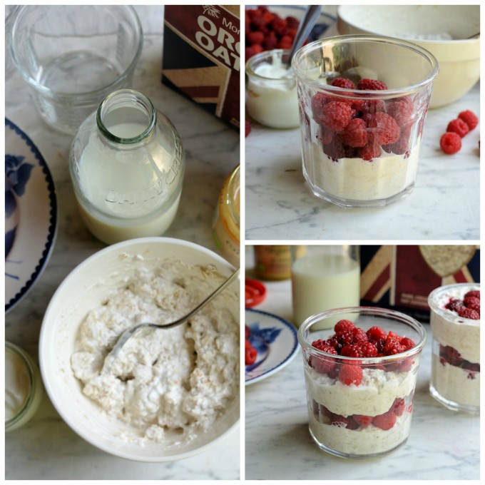 Overnight Oats with Honey & Raspberries