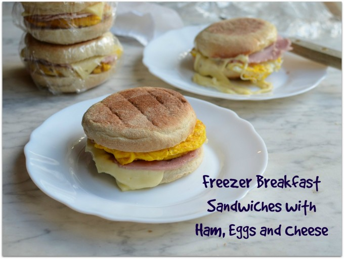 Freezer Breakfast Sandwiches with Ham, Eggs and Cheese