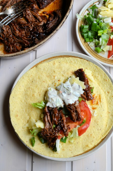 Pulled BBQ Beef Brisket Wraps (For back to school midweek supper)